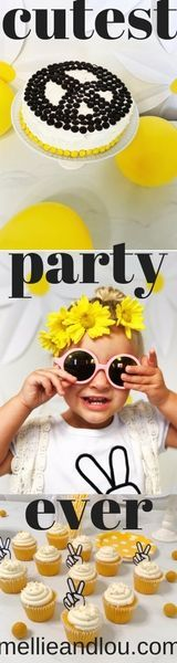 This two year old peace, hippy, daisy, themed party turned out soooo stinking cute! This cheap, easy, budget friendly little girl birthday party was a dream! free printable peace sign cupcake toppers, yellow, black, and white this party cost under $50