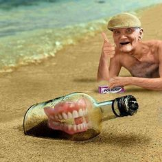 Man Finds His False Teeth in a Bottle Dental Jokes, Dentist Humor, Dental Art, Dental Assistant, Dental Hygiene, Dental Technician, Dental Center, Oral Surgery, Emotion
