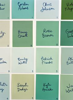 Super DIY Paint Chip Escort Cards - Once Wed green color palette names - Green Things Wedding Blog, Diy Wedding, Wedding Ideas, Wedding Stuff, Dream Wedding, Wedding Decorations, Wedding Planning, Wedding Colors, Wedding Reception