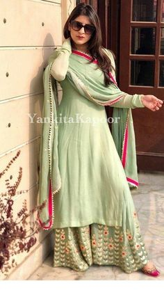 Siya Fashion Party Wear Light Green Palazzo Kurti With Embroidered Work Indian Fashion Dresses, Dress Indian Style, Pakistani Dresses, Indian Wear, Indian Outfits, Shadi Dresses, Mehendi Outfits, Ethnic Outfits, Abaya Fashion