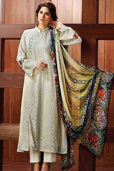 Buy Off-White Silk Embroidered Salwar Kameez Dress by resham ghar Winter Collection Simple Dresses, Beautiful Dresses, Casual Dresses, Pakistani Outfits, Indian Outfits, Pakistan Fashion, Party Wear Dresses, Dress Outfits, Kurta Designs