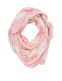 Athena Procopinou Modal Cashmere Floral Pom Pom Scarf - Athena Procopinou's luxurious scarves are made from a lightweight cashmere blend. So large, can be worn as a shawl. We love the blend of floral prints with pom pom detailing on this style.