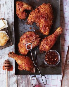 Buttermilk-Brined Fried Chicken from the Lodge Cast Iron Nation Cookbook -  #sweetpaul