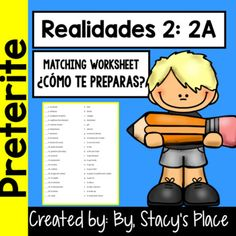 Topic: Spanish 2: Realidades 2A: Cmo te preparas?Matching worksheet which may be used as practice, warm up or  a quick quiz.