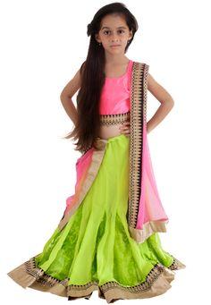 Green Faux Georgette and Velvet Readymade Lehenga Choli with Dupatta Online Shopping: UKU13