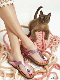 The Cat and the Flat: Spring Shoes and Kittens Make the Perfect Pair - Vogue Daily - Fashion and Beauty News and Features - Vogue Shoes Editorial, Editorial Fashion, Trend Fashion, Fashion Shoes, Daily Fashion, Cat Flats, Trendy Sandals, Summer Sandals, Mode Shoes