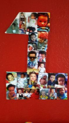 For my sons 1st Birthday, I stenciled and cut out a huge number 1 on thick poster board. I collaged it with pictures throughout the year. I used this as a wall decoration above the party favor table. It was cheap, easy, and an awesome walk down memory lane!!