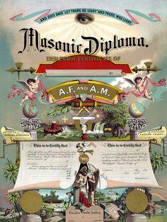 Ancient Free & Accepted Masons: Masonic diploma.