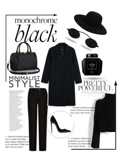 """Monochrome black"" by nancykou1 on Polyvore featuring Acne Studios, Monki, Christian Louboutin, Off-White and Golden Goose"