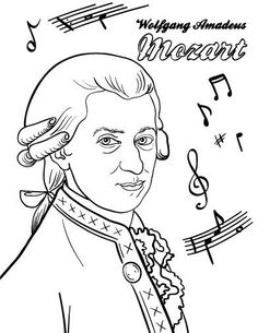 Mozart Coloring Page - Romy Preschool Music, Music Activities, Music Games, Piano Lessons, Music Lessons, Music Lesson Plans, Music Worksheets, Music Composers, Piano Teaching