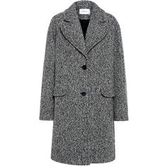 Carven - Oversized Herringbone Tweed Coat (875 AUD) ❤ liked on Polyvore featuring outerwear, coats, tweed wool coat, herringbone tweed coat, fur-lined coats, collar coat and carven coat