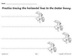 FREE Printable Easter Bunny Line Tracing Worksheet with Straight Lines! Line tracing worksheets like this are great for beginning tracers. Free download includes zig zag and wavy lines too for preschoolers and kindergartners! Get both tracing printables here --> https://www.mpmschoolsupplies.com/ideas/7929/free-printable-easter-bunny-line-tracing-worksheets/