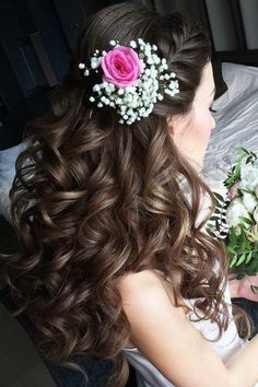 Fairytale Wedding Hairstyles With Flowers ★ wedding hairstyles with flowers long curly hair lyubov nevskaj Bridal Hair Buns, Curly Wedding Hair, Wedding Hair Flowers, Prom Hair, Flowers In Hair, Wedding Dresses, Short Hair Updo, Long Curly Hair, Curly Hair Styles