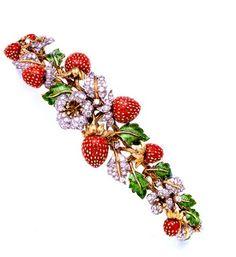 STRAWBERRY BRACELET~ Gold, enamel, and diamonds~ Donald Claflin for Tiffany Co.
