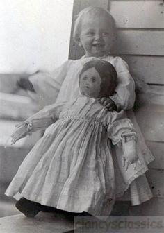 Daisy Baby Holds Life size Folk Art Cloth Doll 1910