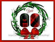 """My first Christmas design! """"Yule"""" order thru link in pic or to shop all of my designs go to link in bio & search 'polishednpretty' #holiday #jamberry #holidaynails #christmas #yule #yuletide #wreath #tartan #plaidnails #plaid #elegant #fun #prettynails #black #red #bows #festive #jamberrynas #customdesign #nailart #notd #ootd #nailwraps #funnails #treatyourself #fashion #style #nailspiration #mixedmani #love"""