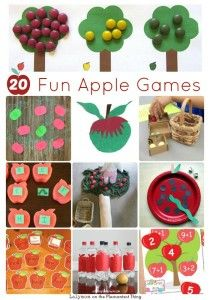 Fall is here - try these 20 Fun Apple Games for Kids from Lalymom on… Apple Games, Apple Activities, Autumn Activities For Kids, Motor Skills Activities, Preschool Apple Theme, Fall Preschool, Preschool Themes, Preschool Apples, September Preschool