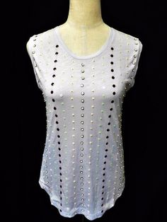 NWT J.CREW Sz XS PALE GRAY 100% COTTON SEQUINED FRONT SLEEVELESS TOP #JCrew #KnitTop #Casual