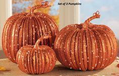 Sparkling Orange Harvest Pumpkins Autumn Pumpkin Fall Table Decoration Set of 3…