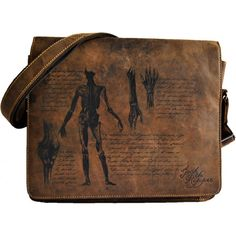 Gothic messenger bag from the Jack the Ripper collection by Longtime, vintage and distressed brown leather with anatomical details and hand-writing.