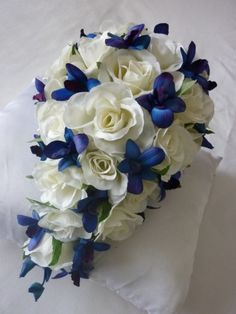 The blue flowers look like butterflies ♥ A Pretty Teardrop Bouquet Of Rose Blooms And Little Blue Orchids And Buds Wedding With Kids, Our Wedding, Dream Wedding, Wedding Ideas, Wedding Things, Wedding Decor, Blue Orchids, Purple Flowers, Artificial Wedding Bouquets
