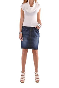 5b027476f0d2e Style J Cute Classy Pencil Skirt-Blue-26(6) at Amazon Women s Clothing  store