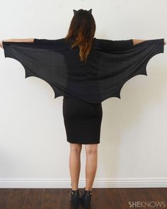 Turn your little black dress into a chic DIY bat costume for Halloween
