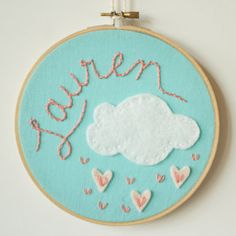 baby shower gift on cool mom picks: personalized embroidery art