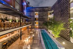 Chic poolside dining at Hotel Carlota. Tagged: Outdoor, Large Patio, Porch, Deck, Lap Pools, Tubs, Shower, and Trees.  Photo 10 of 11 in 10 Best Places For Design Nerds to Dine in Mexico City