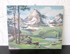 Rocky Grandeur, Mountain Scenes Craft Master Mid Century 1958 Vintage Paint by Number PBN Unframed Painting AtomicPutz.com