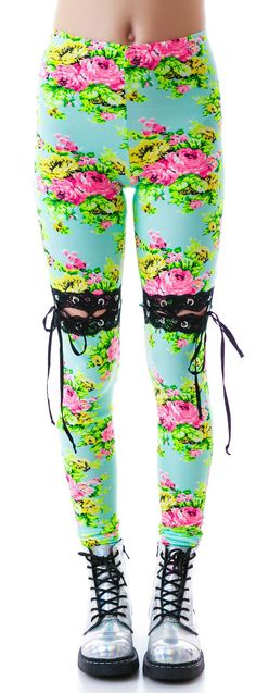 24HRS Floral Lace Thigh High Insert Leggings | Dolls Kill