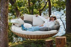 hängematte für garten-design ideen-gefüllte kissenbezüge-decken