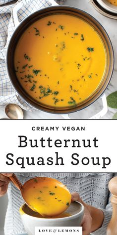 The BEST butternut squash soup recipe! Made with 10 simple ingredients, this vegan butternut squash soup is creamy, nourishing, and delicious - perfect for warming up on cool nights! | Love and Lemons #soup #squash #fall #vegan