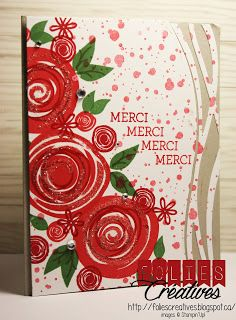 Swirly Bird stamp set and Swirly Scribbles Thinlits in Watermelon Wonder and Real Red colors