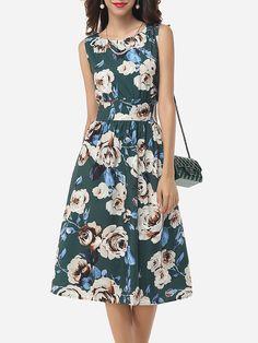 Assorted Colors Floral Printed Zips Elegant Vintage Round Neck Skater-dress