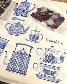 """Instagram photo by bymamalaterre - On my desk this morning """"teapots on the tea towel"""" #bymamalaterre #fabricprint #handmadestamp #handprinted #teapot"""