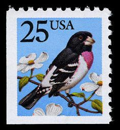 The 25-cent multicolored Grosbeck definitive was issued on May 28, 1988, at the NAPEX stamp show in Arlington, Virginia.