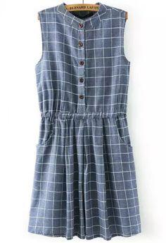 Blue Sleeveless Plaid Buttons Denim Dress - abaday.com