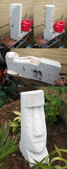 Easter Island Head (Moai) I made from an aircrete block. tools: old saw, old chisels, sandpaper. takes about an hour