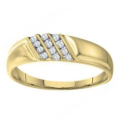 Elora 10k Yellow Gold Men's 1/10ct TDW Channel-set Diamond Wedding Band (I-J, I2-I3) (Size 11, Yellow Gold)