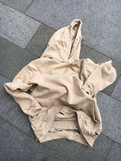 Image of The Beige Seam Destroyed Hoodie
