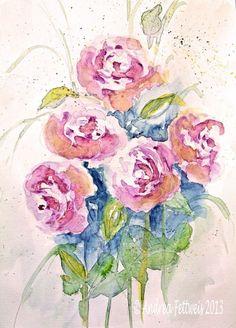 Zu verkaufen: Rosen in Aquarell auf Leinwand gedruckt, 45 x 60 cm