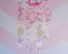 Pink Cream and White Ombre Butterfly Mobile with Glass Pearl Beads - Baby Mobile - Baby Girl - Nursery Decor - Ombre Butterfly Butterflies