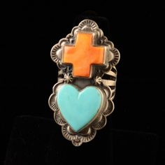 Turquoise heart and spiny oyster cross ring- Stamped by MT