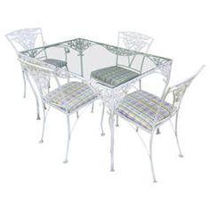 Five Piece Rose Motif Garden Dining Set