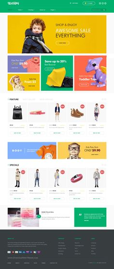 SEASON is truly multipurpose Shopify theme with up to 8 unique homepage layouts perfect any type of eCommerce #website. #childrenshop #childshop