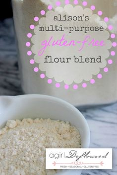 All Purpose Gluten-Free Flour Blend. (This blend was given to use for GF Apple Cake). This blend is good as a all purpose flour for baked goods pancakes, waffles etc. Gluten Free Flour Mix, Gluten Free Cooking, Gluten Free Desserts, Dairy Free Recipes, Gf Recipes, Bread Recipes, Sorghum Flour, Rice Flour, Pan Sin Gluten