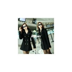 Women's Outerwear Overcoat Female Medium-long Slim Cotton Lapel Warm... (185 HKD) via Polyvore