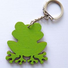 wooden keychain - frog by IrishGift on Etsy https://www.etsy.com/listing/237071931/wooden-keychain-frog