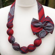 Fashion accessories available from www.the… Upcycled tie necklace. Fashion accessories available from www. Fabric Necklace, Fabric Jewelry, Diy Necklace, Fashion Necklace, Tie Crafts, Sewing Crafts, Old Ties, Tie Styles, Recycled Fashion